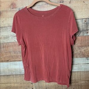 American Eagle Dusty Red Short Sleeve Crop Top